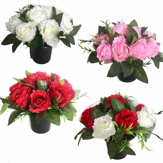 Special Gran Pink Flower Bouquet Graveside Memorial Pot Grave Vase