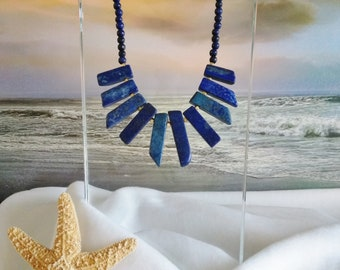 BLUE BEAD NECKLACE, Blue Beaded Lapis Stone Necklace, Statement, Free Shipping to the United States