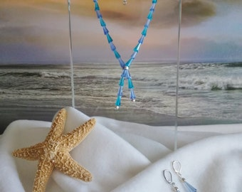 AQUA BEADED NECKLACE, Aqua Beaded Glass Necklace with Matching Earrings, Handmade, Free Shipping to the United States