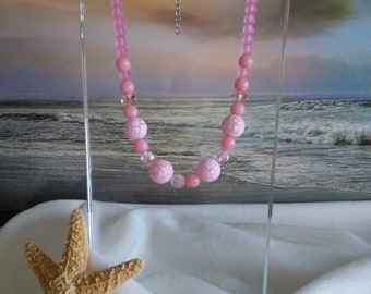 PINK NECKLACE, CHUNKY, Statement, Wedding, Free Shipping to the United States