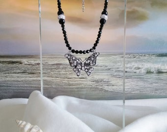BLACK BEADED NECKLACE with Butterfly Pendant, Statement, Free Shipping to the United States
