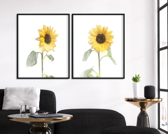 Sunflowers Wall Decor Watercolor Set Of Bedroom Etsy