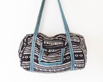 Vintage 90s Oversized Bag - Black White and Blue Woven Satchel - Gym -  College - Sports - Beach - Overnight - Boho - 90s - Fabric - Vegan c8e6f6da64f54