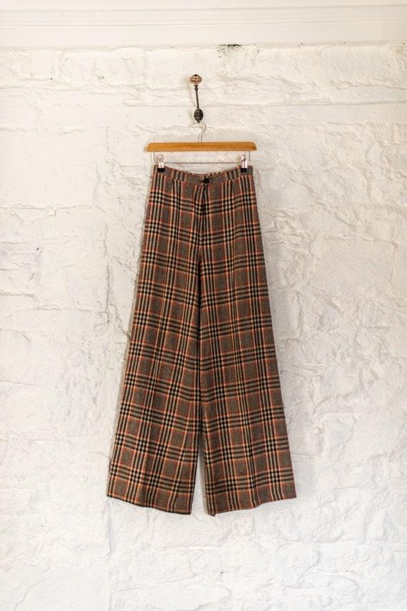 Vintage 70s Tartan Check Flared Trousers - True Vi