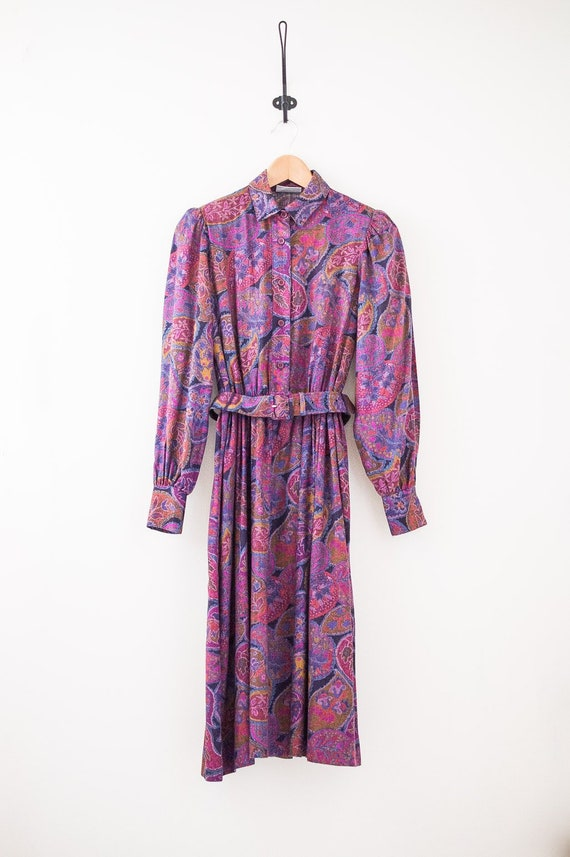 Vintage 70s Paisley Pattern Dress - Floral and Pai