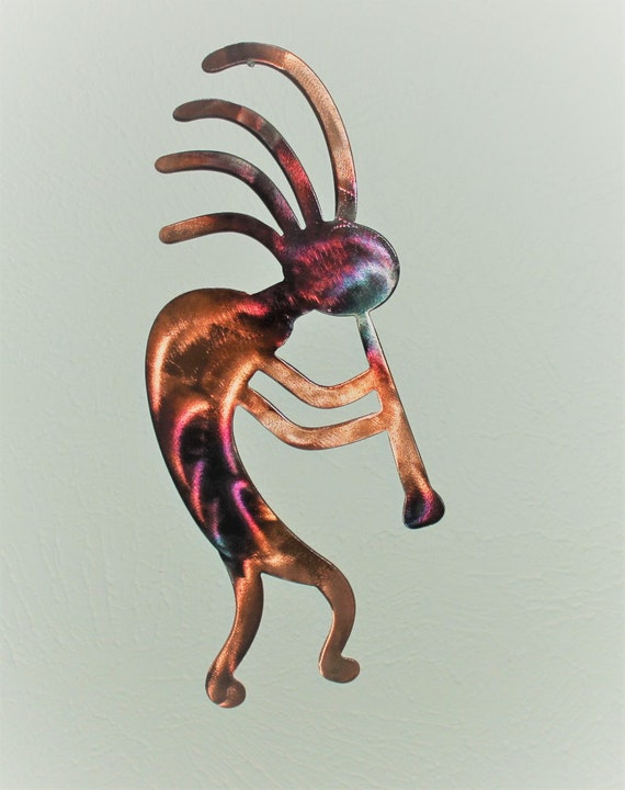 Metal Hanging Kokopelli  RUSTIC COPPER COLOR  over 20 inches Tall