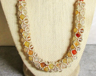 Agate & Crystal Netted Necklace TW 219.0ct