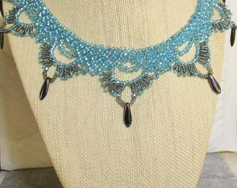 Teal Blue Scallop Necklace