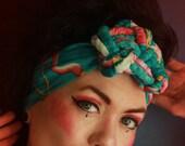 Knotted Headband Vintage Style Headpiece Oversized 1940s 50s Turban Style Luxury Pin-up Knot Fascinator