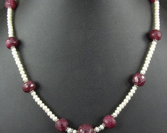 """Ruby and Pearl Necklace Beads Size 3-4mm Length 16"""""""