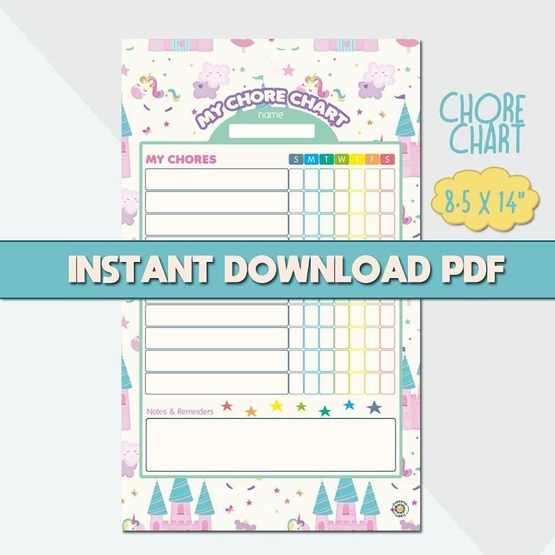 graphic regarding Kids Printable Chore Chart named Advantage Chart for Small children Printable Chore Chart Unicorns and Fairies Agenda Chart Young children 8.5x14\