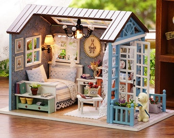 Forest Time DIY Doll House   Furnished Miniature House W/ Lights   Wooden  Dollhouse Toy For Children   Dollhouse Furniture Kit   Diy Project
