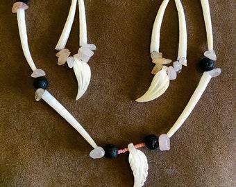 rose quartz dentillium lava rock necklace and earring set