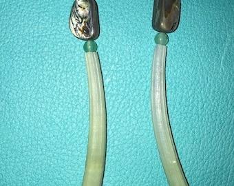 Green Dentillium Abalone Earrings