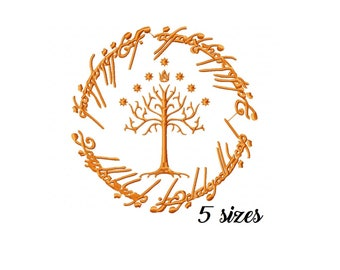 12ecd1ae Lord of the Rings (LOTR) White Tree of Gondor Machine Embroidery Design  File in 5 Sizes One Ring Machine Embroidery Design