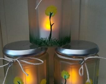 Hand painted jam jar lanterns
