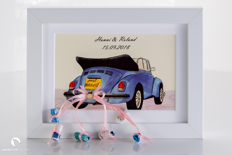 Geldgeschenk zur Hochzeit Rahmen mit Bild Auto | Etsy