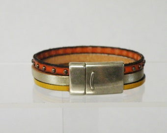 orange and yellow leather bracelet