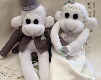 Bride & Groom sock monkeys (the pair)