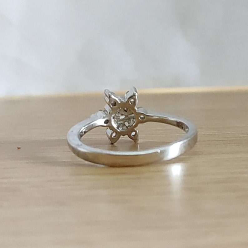 925 Sterling Silver RingFloral RingThanks Giving RingStudded with Round Diamond RingCz Diamond RingEngagement Ring