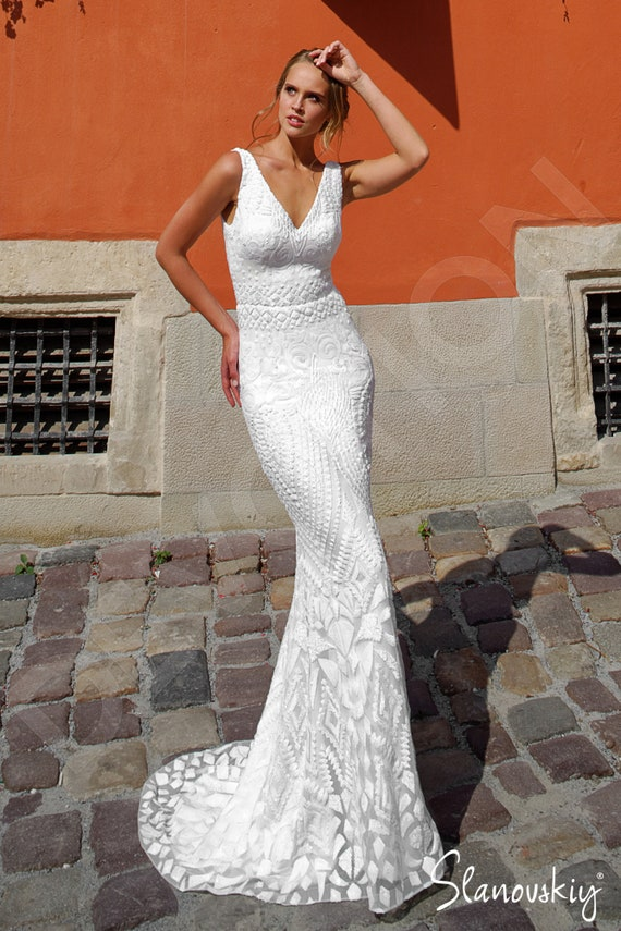 Individual size TrumpetMermaid silhouette Damiana wedding dress. Elegant style by DevotionDresses