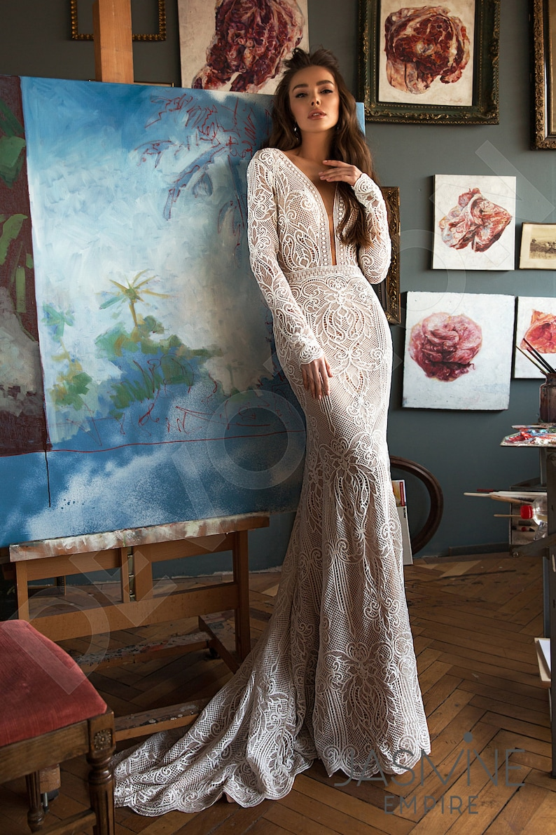 Individual size Trumpet/Mermaid silhouette Clarana wedding dress. Modern style by DevotionDresses