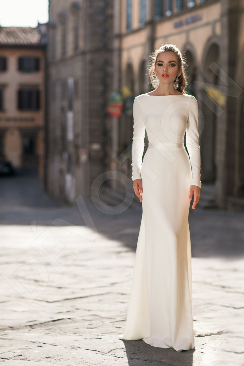 Individual size Trumpet/Mermaid silhouette Marigold wedding dress. Elegant style by DevotionDresses