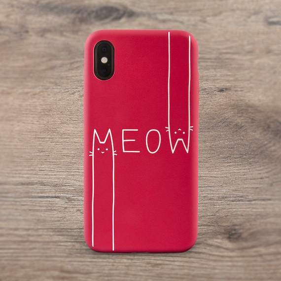 Meow Iphone Case Cat Funny Case Phone Case Simple Iphone Red Case Kawaii Case Iphone Xr Iphone Xs Iphone 8 Case Iphone 7 Plus Iphone X Case