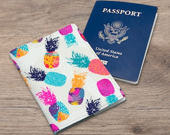 Passport wallet Document holder Cover pineapple Passport cover Fruits case Rainbow cover Pineapple case Passport holder Documents CC_008