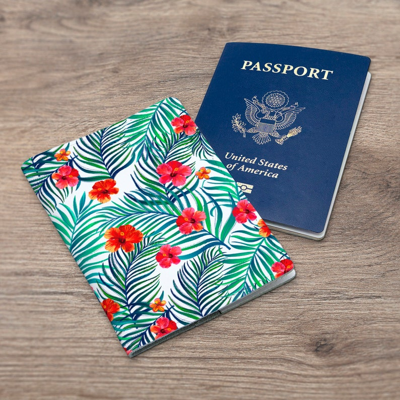 Red Flower Passport Cover Made in the USA