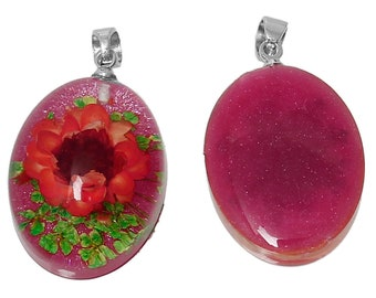 real flower oval resin pendant / charm