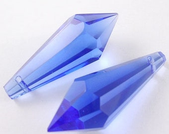 2 x Navy Blue Glass faceted Pointed Pendant / Bead