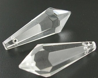 2 x Clear Glass faceted Pointed Pendant / Bead