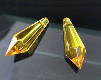 2 x Yellow Glass faceted Pointed Pendant / Bead