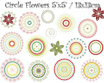 """Circle Flowers embroidery files set 5""""x5"""""""