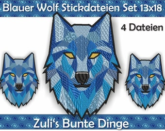 Blue wolf emboidery files for the 13x18 (cm) hoop, 4 files