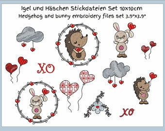 """Bunny and Hedgehog embroidery files set 4""""x4"""""""