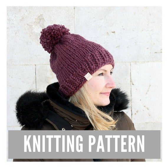 Knitting Pattern / Simple knit hat with pom pom / Winter hat | Etsy