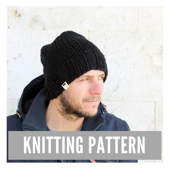 Knitting Pattern Mens Hat Pattern Mens Knit Hat Etsy