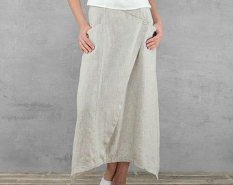5d3d564dd4 Long Linen Skirt - Maxi Skirt with Pockets - Linen Clothing - Summer Skirt  - 100% Pure Linen - Large Size Skirt - Light Gray Skirt
