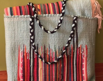 Handwoven Organic Egyptian Cotton Picnic Blanket with Carrier Tote