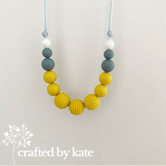 Mustard yellow silicone bead necklace / beaded necklace