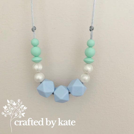 Pastel blue / pearl / mint green silicone bead necklace