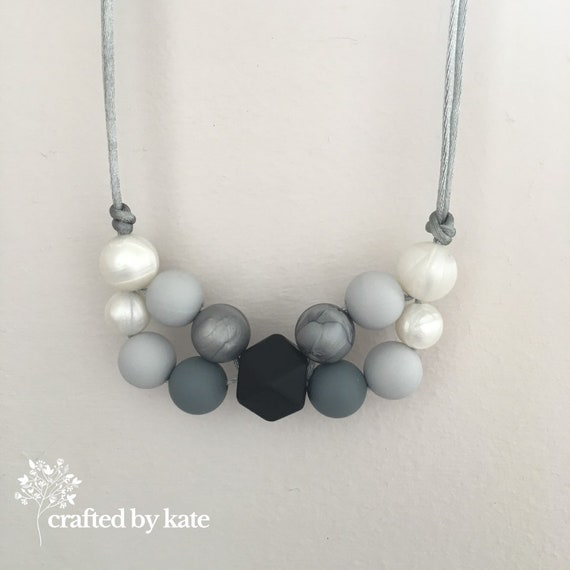 Silicone Bead Necklace Statement Necklace Beaded Necklace Monochrome Black Grey Pearl