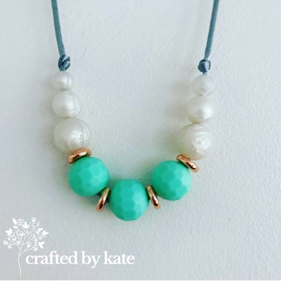Mint and pearl silicone bead necklace / beaded necklace