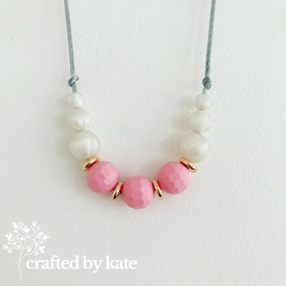 Rose and pearl silicone bead necklace / beaded necklace