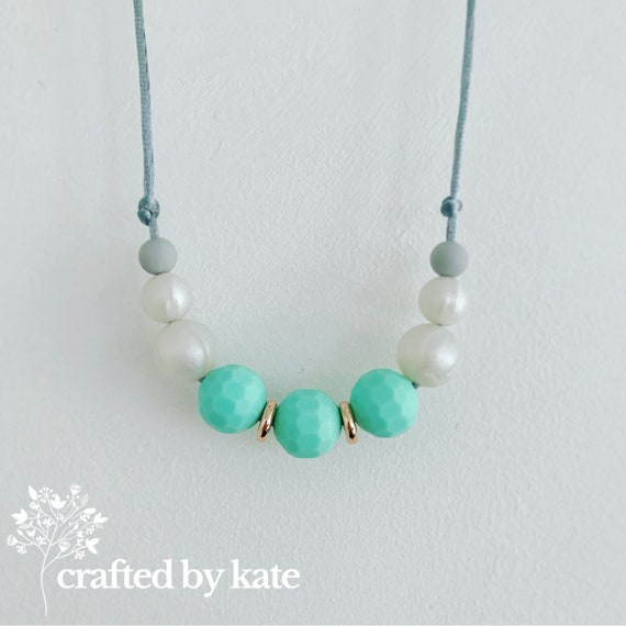 Mint pearl and grey silicone bead necklace / beaded necklace