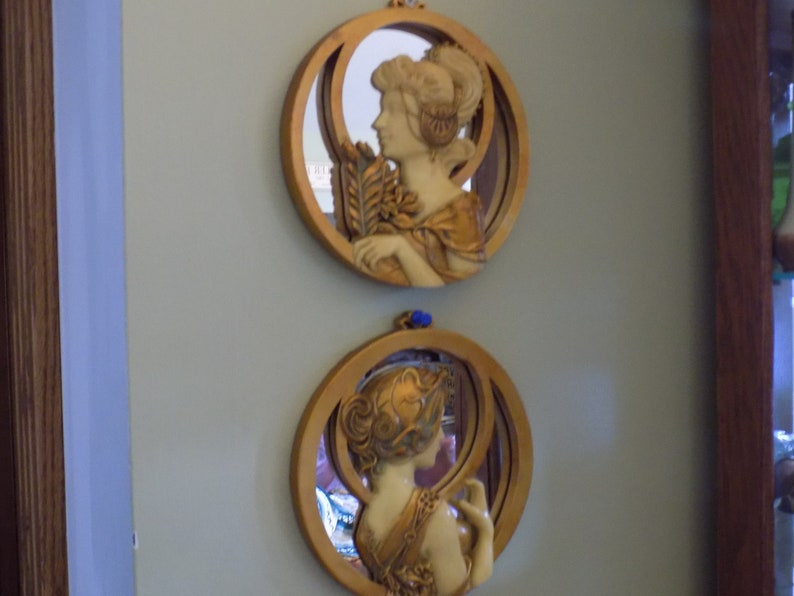 Pair Of Art Deco Style Mirrors Etsy
