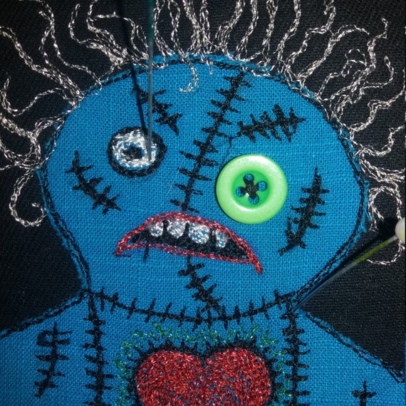 Quirky Hand Made Angry Blue Cannibal Voodoo Doll Zombie Hoop Pin Board  Embroidered Mini Notice Board Divorce Housewarming Unusual Gift