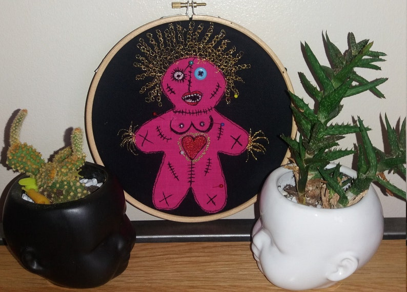 Quirky Hand Made One Off Embroidered Voodoo Dolly Parton Doll with Boobs  Hoop Art Notice Board Zombie Revenge Feminist Unusual Gift
